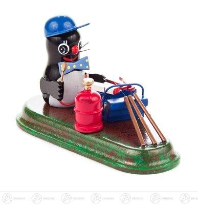 Miniatuur mol Klempner hoogte ca. 6 cm NIEUW Ertsgebergte kerstfiguur houten figuur