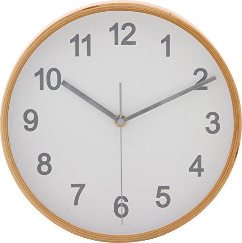 不二貿易 掛け時計 直径22cm ホワイト スイープ 連続秒針 静音 プライウッド 85360