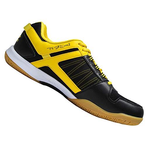 Li-Ning Pro Players Non-Marking Badminton Court Shoes, Black/Yellow - 1 UK