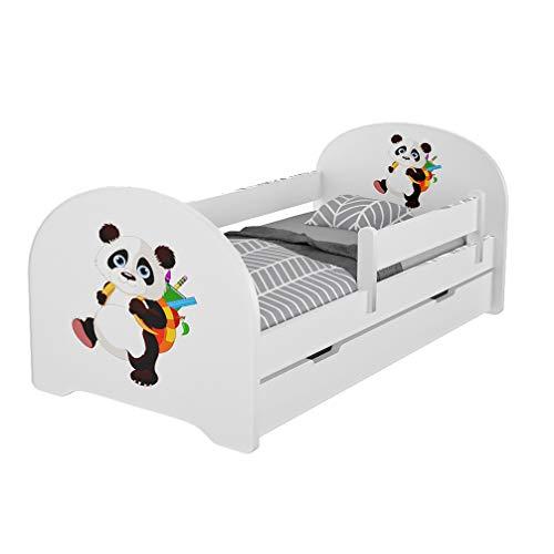 Meblex - Letto per bambini con cassetti e materasso in schiuma sicuro, 160 x 80 cm, per camera da letto dei bambini, con struttura in MDF e testiera integrata, colore bianco