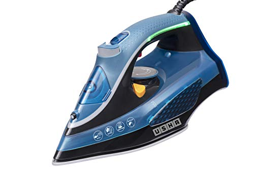 Usha Aqua Glow Smart Steam Iron 2000 W with Innovative LED Indicator Durable Ceramic Soleplate, Blue.