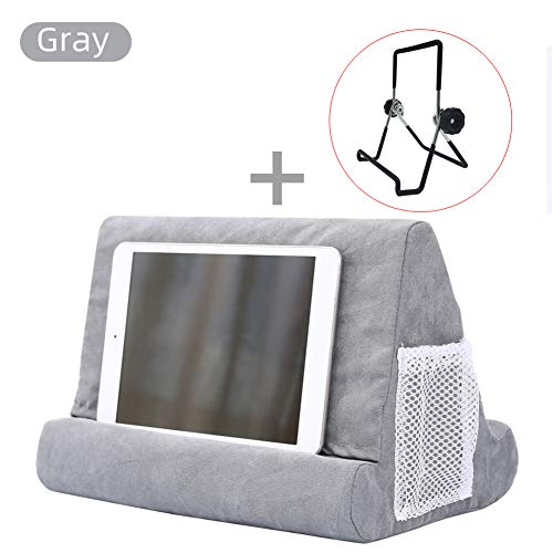 Runzeseny Pillow Ständer für Tablet, Buchstütze, Lesekissen, für Zuhause, Bett, Sofa, Multi-Winkel, Soft Pillow Lap Stand Grau 1