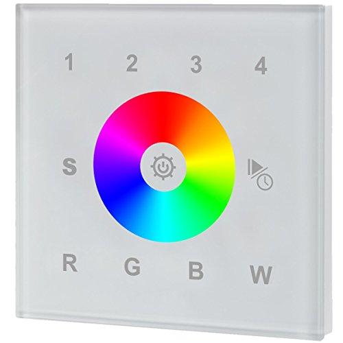 iluminize Touch Wand-Dimmer Funk: für RGB/RGB+W/RGBW LEDs, 1 Zone, 230V Anschluss, Schalterdosen-Installation, KEIN Universal-Gerät: Funk Controller ist erforderlich (1 Zone weiße Glasoberfläche)