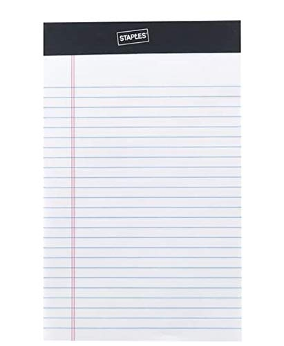 Staples Perforated Notepad, Narrow Ruled, White, 5' x 8', 12/Pack