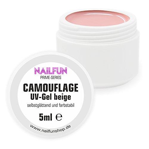 NAILFUN Camouflage Gel beige [5ml] mit Fiberglas Prime Series - optimale Deckkraft - elastisch - hochviskose - selbstglättend - modellierfähig