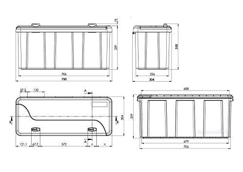 Blackit L - 750 x 300 x 355 mm, Deichselbox mit 2 Schlösser, Werkzeugkasten für Anhänger Staukiste 50 ltr Anhängerbox, Daken B50-2 - 8