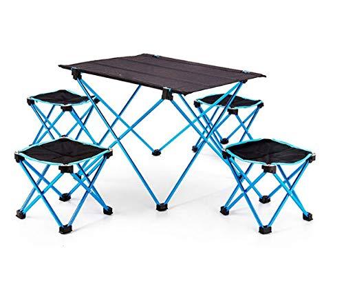ZOUJUN Tabla portable de la silla plegable, Escritorio acampa yendo de excursión la barbacoa al aire libre de la comida campestre de aleación de aluminio mesa y silla de playa ultra ligero (Trae 4 tab