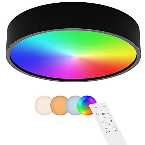 Anten Sydney   Lámpara de Techo Colores LED RGB   IP44 24 W con mando a distancia   Negro   3 Colores de Luz + RGB Cambio de color   30 cm   Lámpara LED para cocina, baño, salón, dormitorio