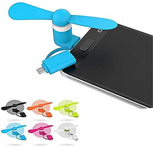 seaNpem Mini ventilador de teléfono celular portátil 2 en 1 mini ventilador USB para iPhone/Android teléfono celular Accesorios de verano 6 unids y 6 colores
