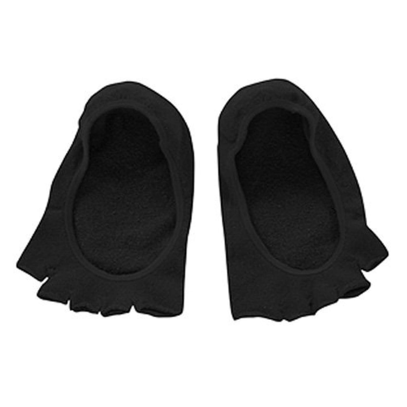 セグメントトレーニング圧縮するコクーンフィット 5本指オープントゥのフットカバー(かかとシリコン付き) ブラック
