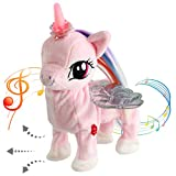 Houwsbaby Electronic Glowing Unicorn Musical Horse Stuffed Animal Singing and Walking Plush Toy Interactive Animated Kids Gift, 13 in (Pink)