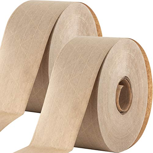 Ultra Durable Water-Activated Tape for Secure Packing 2 Pk. 2.75 Inch, 450 Ft Brown Kraft Gum Tape Provides Heavy Duty Adhesive for Packaging and Shipping. Fiberglass Reinforced for Extra Strong Bond.