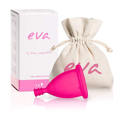 Eva - Copa Menstrual Super-Soft de silicona platino antialérgica - 2 tallas y 2 colores (Large, Rosa) MADE IN ITALY
