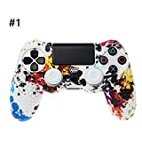 Geesy Protective Cover Gamepad Sleeve Case Soft Silicone Skin Analog Thumb Grip Joystick Rocker Cap Anti-Slip Compatible for Sony Playstation 4 PS4 Wireless Controller