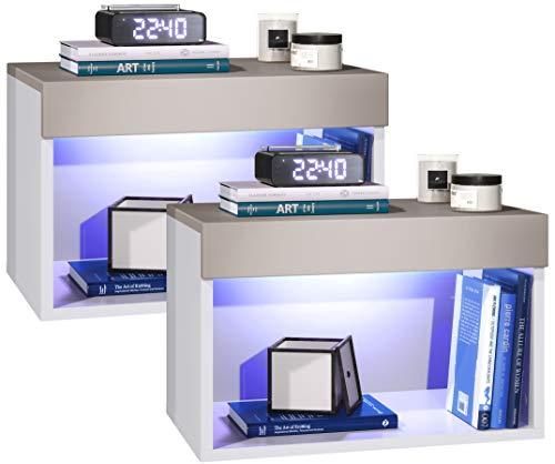 Vladon Nachtkommode Nachtkonsole Pure 2er Set, Korpus in Weiß matt/Oberböden und Blenden in Mocca matt, mit RGB LED Beleuchtung