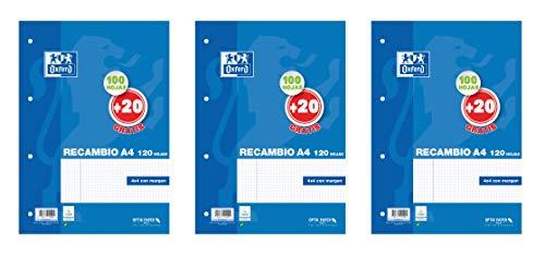 Hojas cuadriculadas A4 Recambio Oxford, Pack de 3 unidades, 100 + 20 hojas, Cuadrícula 4 x 4 [Exclusiva Amazon]