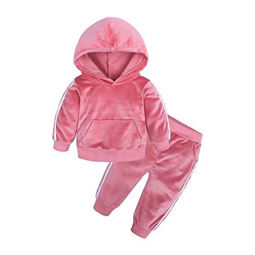 2 Pezzi Tuta in Flanella Solida per Bambini Neonati - Cappotto Giacca Felpa con Cappuccio Carino + Pantaloni Lunghi Abiti Autunno Inverno Vestiti Caldi 0-5 Anni (A Pink, 110/3-4 Anni)