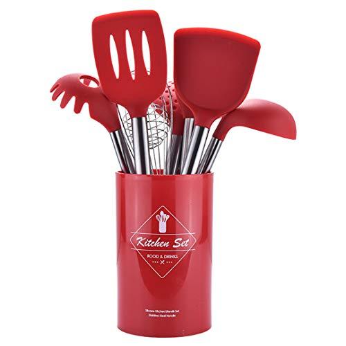 Ensemble d'ustensiles de Cuisine en Silicone cuillère louche à Soupe-Oeuf spatule tourneur ustensiles de Cuisine Red 9PCS-B