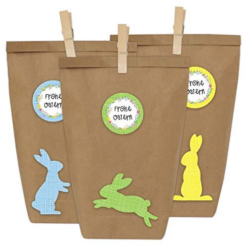 Papierdrachen 12 DIY Geschenktüten zu Ostern zum Basteln - Kreatives Osternest mit 12 Papiertüten und Osterhasen Aufklebern - Design 2