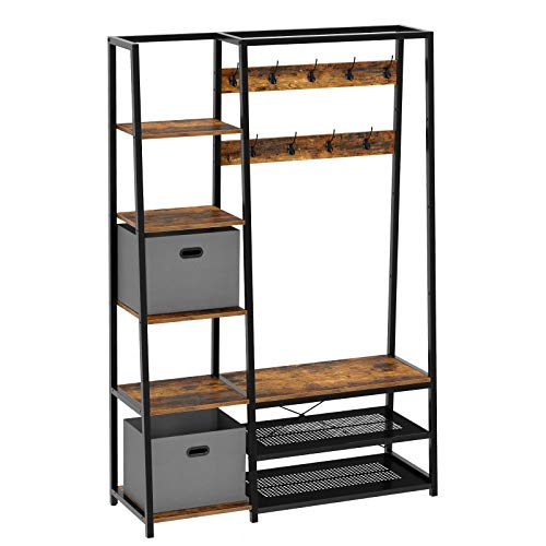 Rolanstar Hall Tree with Storage Bench, 5-in-1 Entryway Shelf with Coat Rack, 70.8' Coat Stand with 5 Side Shelves, 2 Foldable Storage Cubes, 9 Hooks and Shoe Bench Rustic Brown
