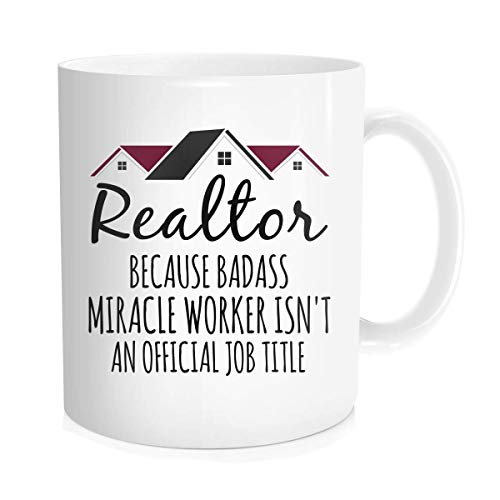 Realtor Miracle Worker Job Title Real Estate Agent Novelty Tea Cup Gift Idea For Men Women Co-workers, White Fine Bone Ceramic 11 oz