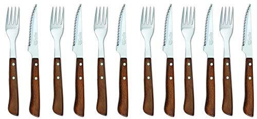 Sonpó Online - Modelo PKCTM - Juego de cuchillo chuletero y tenedor de mesa (12 piezas) - Mango de madera comprimida y hoja de acero inoxidable.