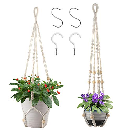 CXWMZY 2 Pack Macrame Plant Hangers and 2 PCS Hook, Indoor Outdoor Handmade Cotton Rope Hanging...