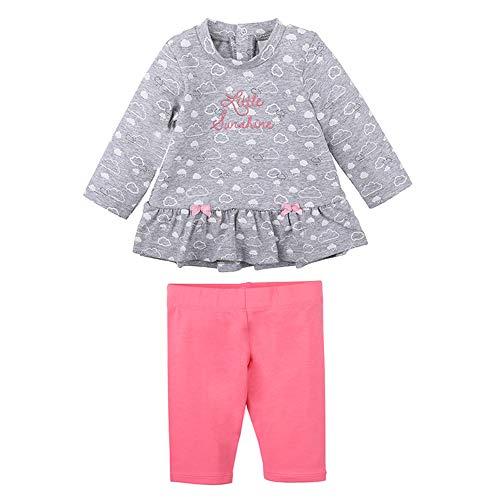 Newborn Baby Girls meisjes-set: T-shirt/shirt met lange mouwen en broek, grijs
