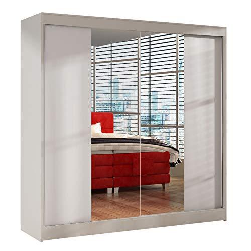 Schwebetürenschrank Basti II 200 cm mit Spiegel - Kleiderschrank, Schiebetürenschrank mit Kleiderstange und Einlegeboden, Schlafzimmerschrank, Schiebetüren, 200x215x58 cm (Weiß)