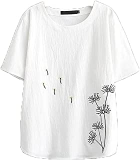 Wanxiaoyyyindx Work Blouses for Women, Embroidery Blouse Tiptop For Women Summer Plus Size Clothing Cotton Linen Shirt Bru...