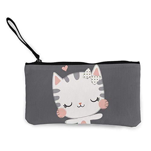 Lawenp Cute Kitty Portátil Mujer Lona Monedero Bolsas de Almacenamiento Cartera pequeña Cremalleras Cosméticos de Viaje