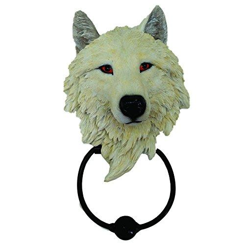 NN Türklopfer weisser Wolf Wolfsfigur Western Indianer Dekoration Wolfskopf Doorknocker