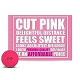Cut Golf Balls, Pink Matte Colored (One Dozen)