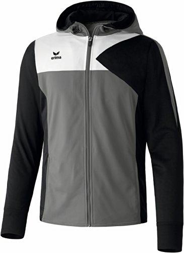 erima Herren Premium One Trainingsjacke mit Kapuze, Grau (Granit/Schwarz/Weiß), 1074, XL