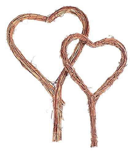 Lot de 2 couronnes de vigne naturelle en rotin en forme de cœur pour décoration murale rustique pour mariage, Saint-Valentin, porte d'entrée (couleur : marron clair)