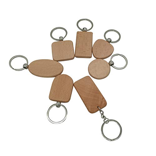 Diamond Found DIY Blank Wooden Key Chain Personalized EDC Wood Keychains Best Gift Mix 7 Styles Pack of 7pcs