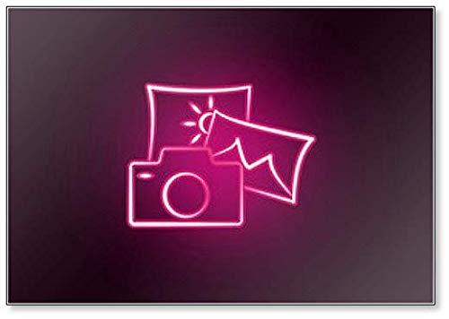 Imán para nevera con ilustración de neón de fotos y cámara