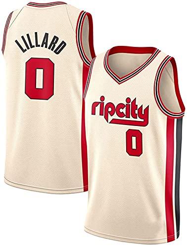 xzl Trail Blazers #0 Lillard Camiseta de baloncesto para mascotas NBA Boys Youth Basketball Jersey sin mangas Camisetas Swingman Jersey, Beige - XXL