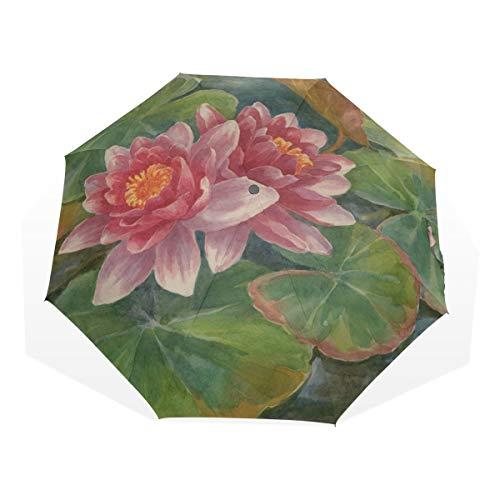 Paraguas liviano de Viaje Flores de Lirio de Agua fragantes Elegantes Paraguas de Arte de 3 Pliegues (impresión Exterior Paraguas de Mujer para Lluvia Paraguas de Viaje Paraguas de Sol a Prueba de v