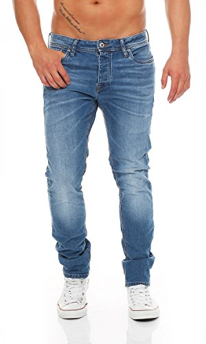 JACK & JONES Tim Original Medium Blue Wash Slim Fit Herren Jeans, Hosengröße:W34/L34