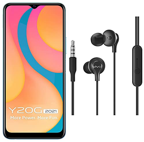 Vivo Y20G 2021 (Purist Blue, 4GB RAM, 64GB Storage) with No Cost EMI/Additional Exchange Offers + vivo Color Wired Earphones with Mic and 3.5mm Jack (Black)