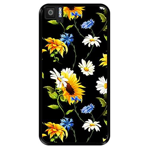 Hapdey Funda Negra para [ Bq Aquaris M5 ] diseño [ Patrón Floral, Flores Multicolores 2 ] Carcasa Silicona Flexible TPU