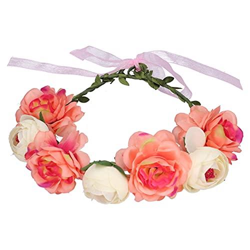 Copricapo floreale, fascia regolabile per bellissimi fiori, morbida e resistente per feste di matrimonio, festival, spiaggia, scattare foto(Beige corallo)