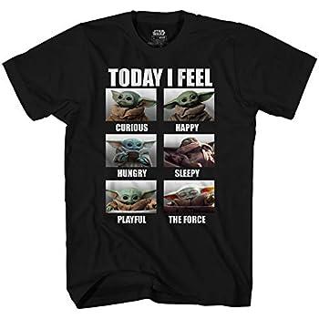 Star Wars The Mandalorian The Child Baby Yoda Today I Feel T-Shirt Black,Medium