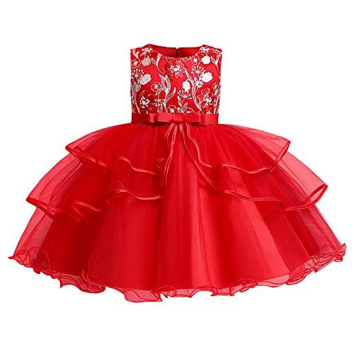 FYMNSI - Vestido de noche para niños, de tul, para fiesta de cumpleaños, para niña, boda, dama de honor, festival de flores, para celebraciones, bailes, cócteles, Navidad rojo 7-8 Años