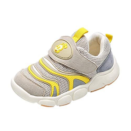 HDUFGJ Kinderschuhe Jungen Mädchen Sneaker Mesh Atmungsaktiv Turnschuhe Klettverschluss Outdoor Laufschuhe Autumn and Winter 28 EU(Beige)