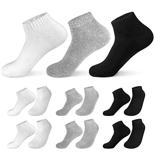 Caudblor 12 Pares Show calcetines de corte bajo de algodón para hombres y mujeres, blanco / gris / negro (Calcetines gruesos, 39-45)