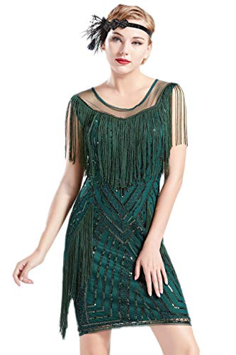 Coucoland 1920s Kleid mit Troddel Stola Damen Gatsby Abendkleid Cocktail Party Damen 20er Jahre...