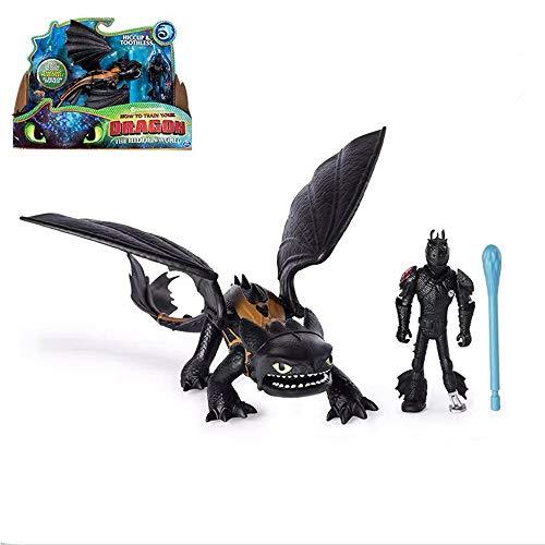 MINGZE Cómo Entrenar a tu dragón Conjunto de Modelos - Dragón Desdentado, Viking Hiccup/Lightfury, Figuras de Juguete para niños Dragon Riders, 4 año(s) Niño/niña (Toothless and Hiccup)