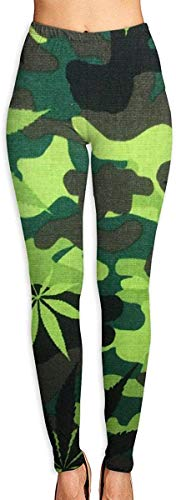 Irener Yoga Pant Sport Workout Leggings Camouflage Pot Leaves Provide Women with High-Waisted, Ultra Soft Lightweight Gym Yoga Leggings